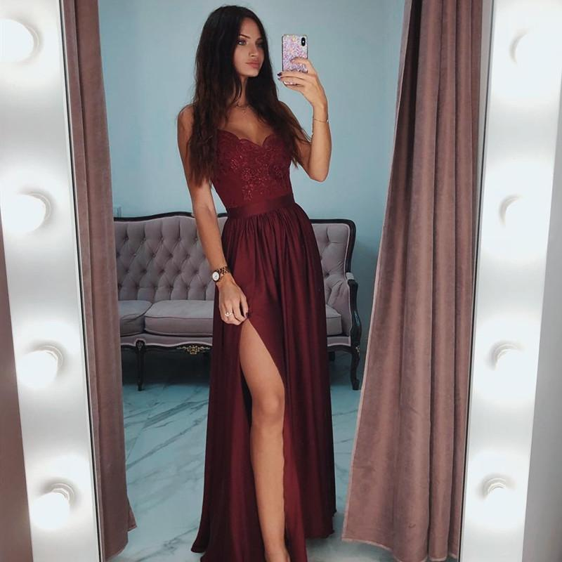 2019 Sexy V-Neck Burgundy Evening Dresses Long Simple Backless Custom Make Plus Size Evening Gowns for Women Robe De Soiree
