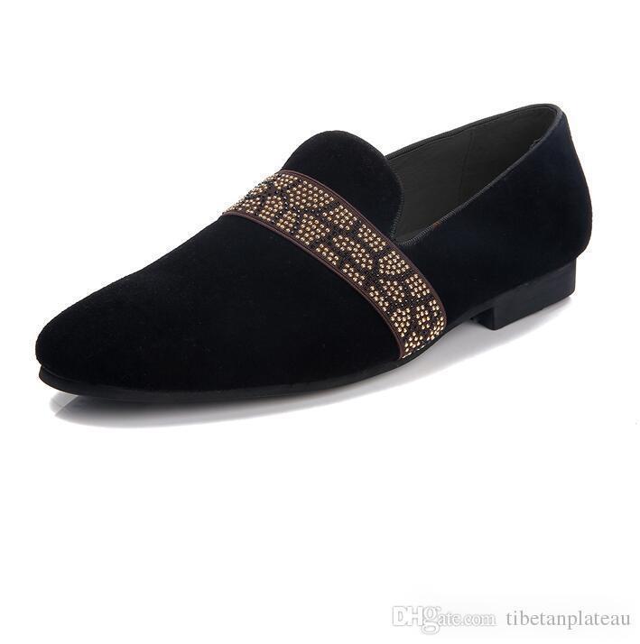 a0bc95f271a Новый замша натуральная кожа мужская Черный Кристалл обувь мужчины мокасины  курение тапочки выпускного вечера и Партии мужской платье обувь