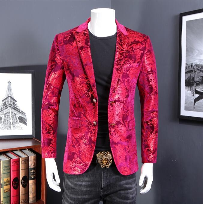 b6a03a57cb04 2019 Luxury Mens Floral Blazer Velvet Suit Jacket Red Plus Size 5Xl Blazer  Masculino Slim Fit British Style Men Vetement Homme 2019 From Aqueen