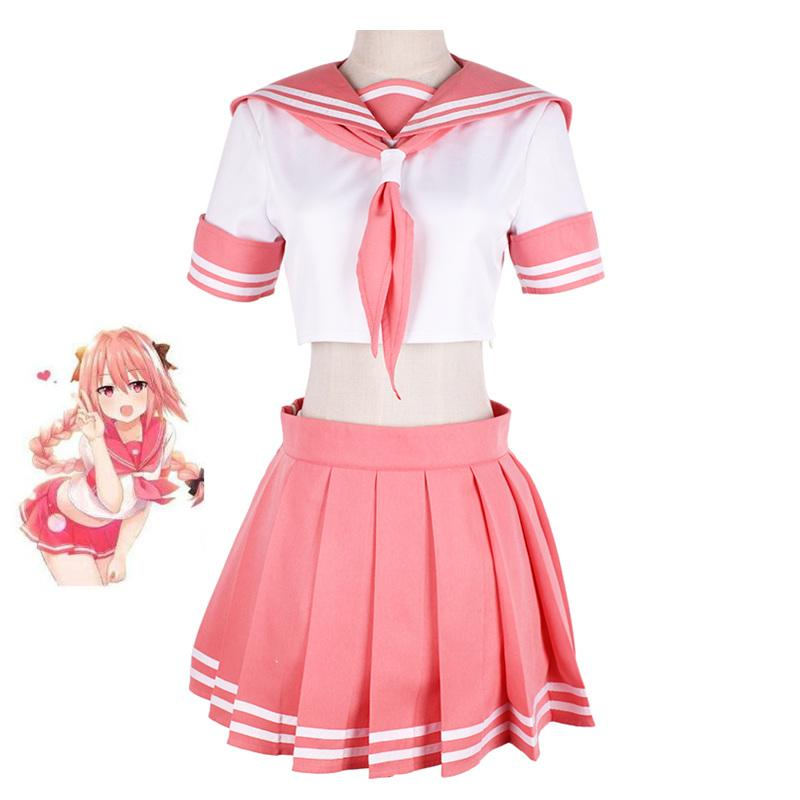 aae719e7dad4 Fate/Grand Order Fate Apocrypha Rider Astolfo Cosplay JK School Uniform  Sailor Suit Women Fancy Outfit Anime Halloween Costume Anime Cosplay  Cosplay Wigs ...