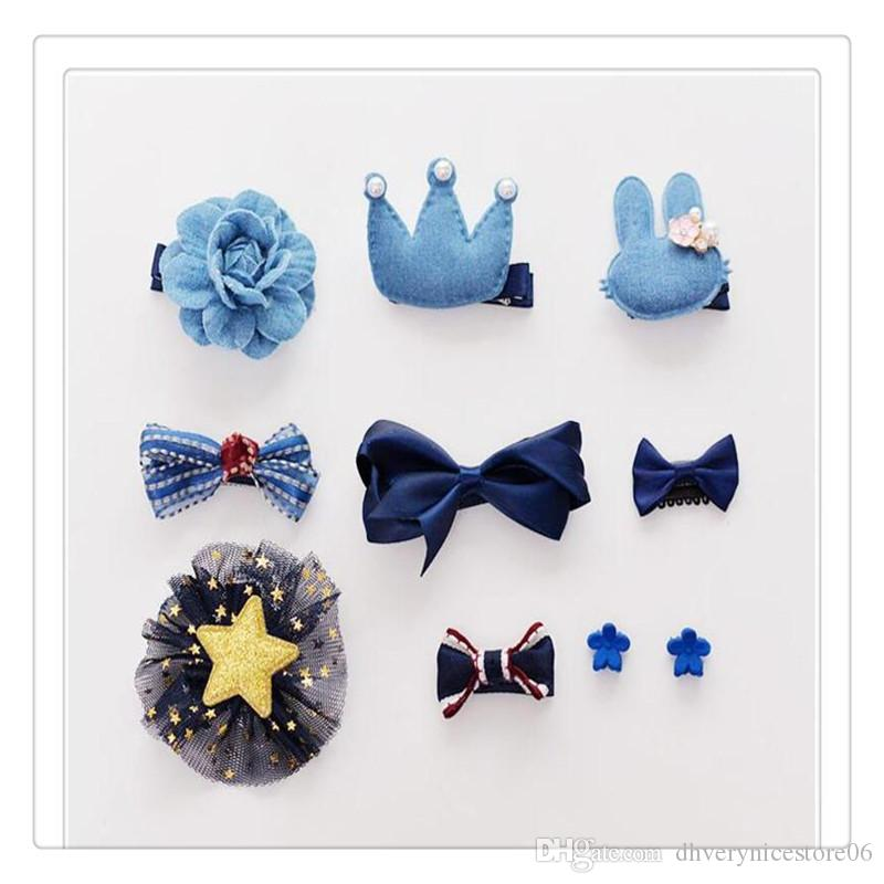 Beautiful Girls Hair Clips Set Bowknot Crown Hair Barrette Hairpin Hair Accessories for Toddles Gift Box 10 Pcs Wholesale