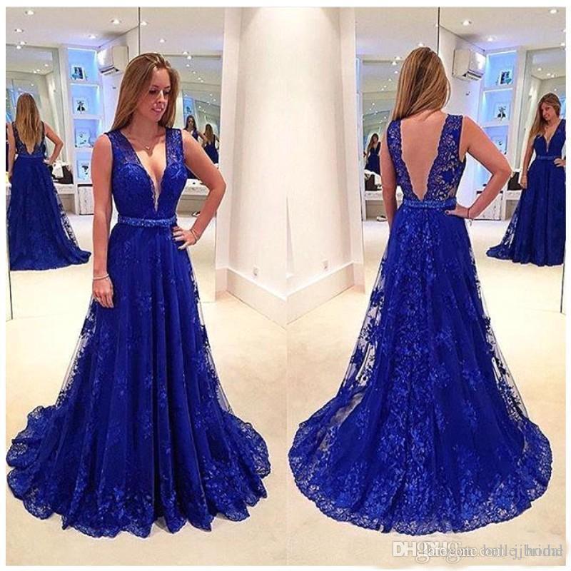 1cfdc0807 Roupa De Festa Azul Royal Vestidos De Baile Longo Vestidos Festa Vinatge  Cheia Do Laço Profundo Decote Em V Low Back Vestido De Noite A Linha Formal  ...
