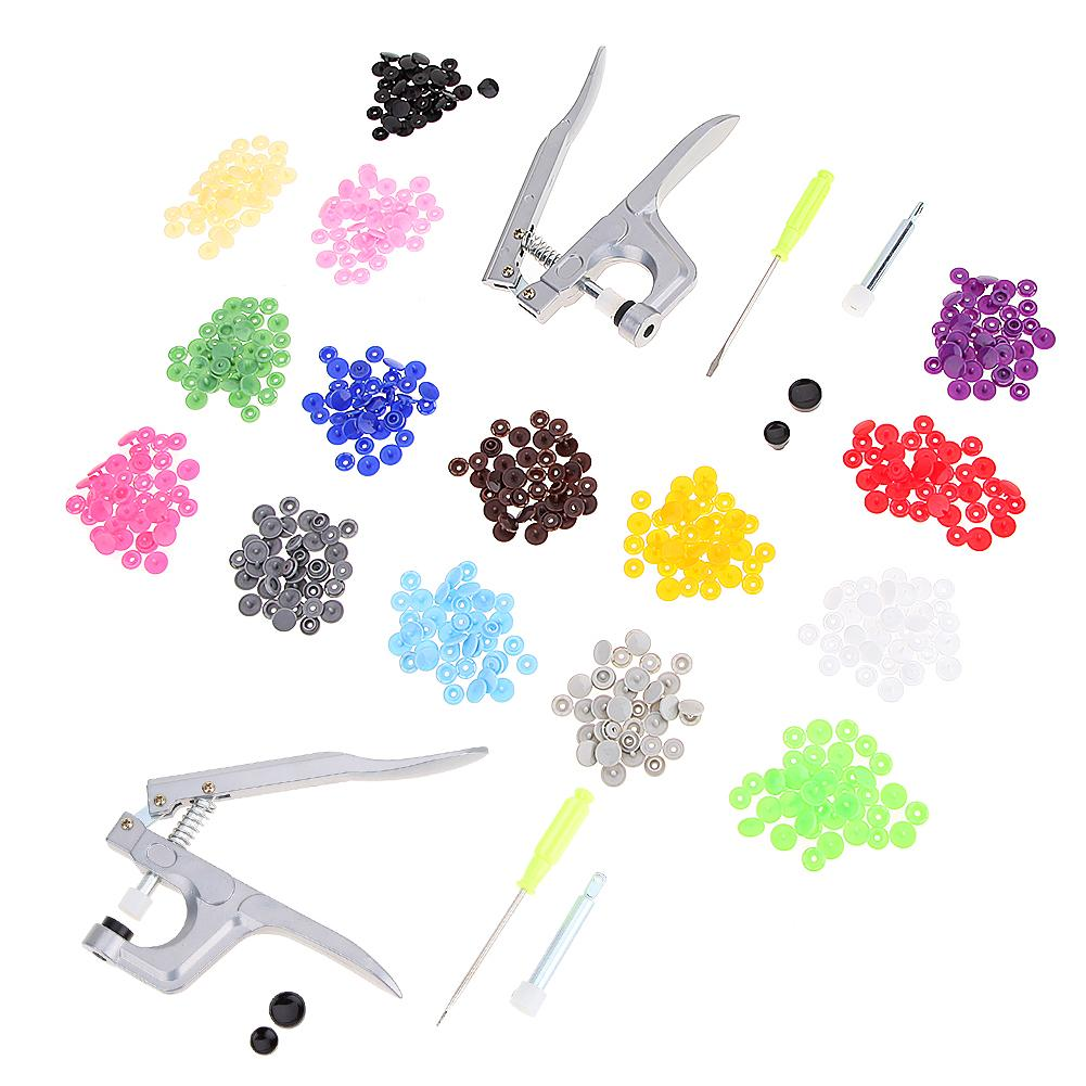 U Shape Fastener Snap Pliers KAM Button 150 Set T5 Plastic Resin Snap Button Press Stud Cloth Button Press Machine Sewing Tool