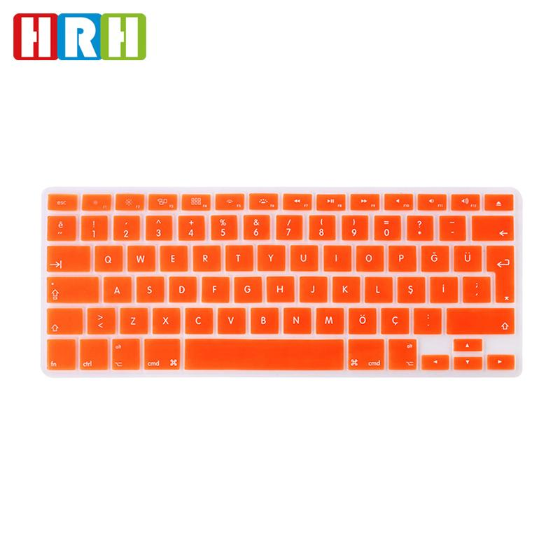 00816e75aea HRH Waterproof Ultra Thin Turkish Language Silicone Keyboard Cover Keypad  Skins Protector For Macbook Air Pro Retina 13 15 17 EU Layout Keyboard Cover  For ...