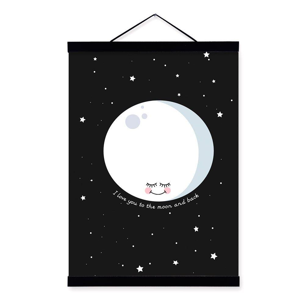 4f6bf6a5a9 Acquista Nordic Minimalista Luna Love Quotes A4 Grande Art Print Poster  Cartoon Immagine Della Parete Della Tela Di Canapa Pittura No Cornice Kids  Room Home ...