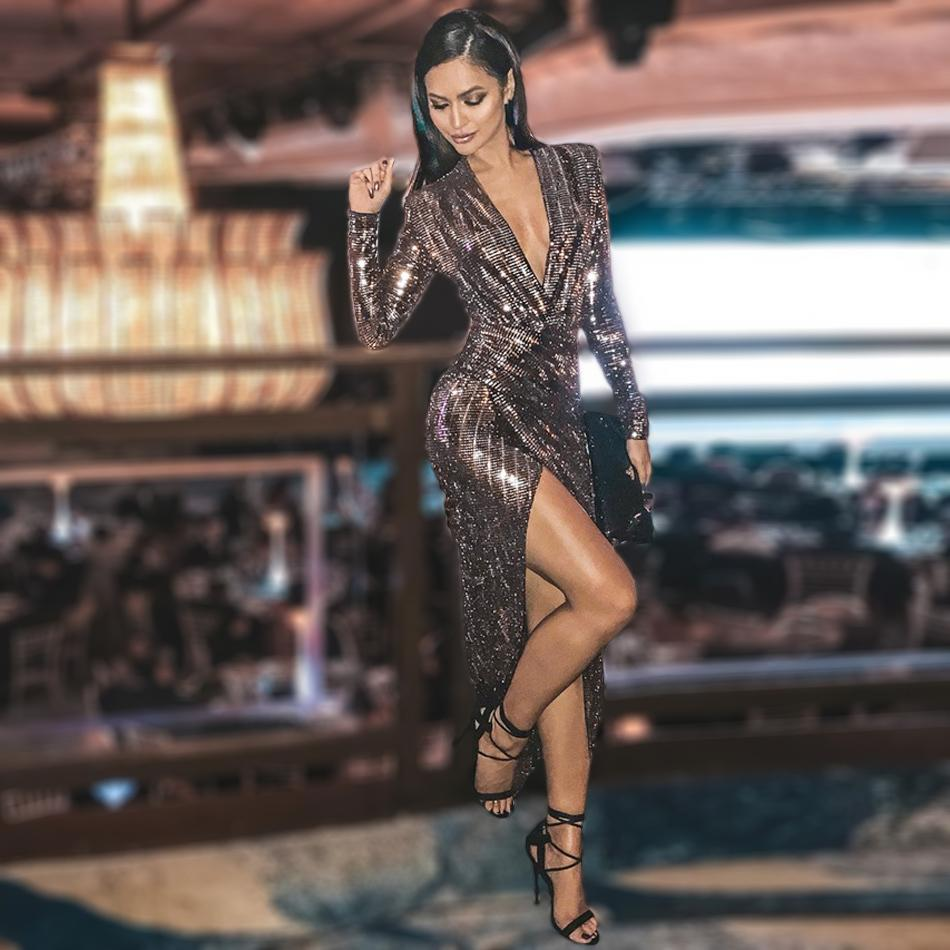 c8fa09e894812 Free Shipping Sparkling Sequin Ruched Wrap Dress Long Sleeve V Neck Striped  Women Sexy Thigh Split Midi Bodycon Femme Dress