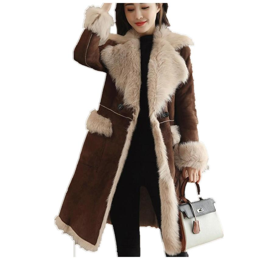 8772e0df20a39 Winter Women Faux Lambs Wool Coat Female Medium Long Thick Warm ...