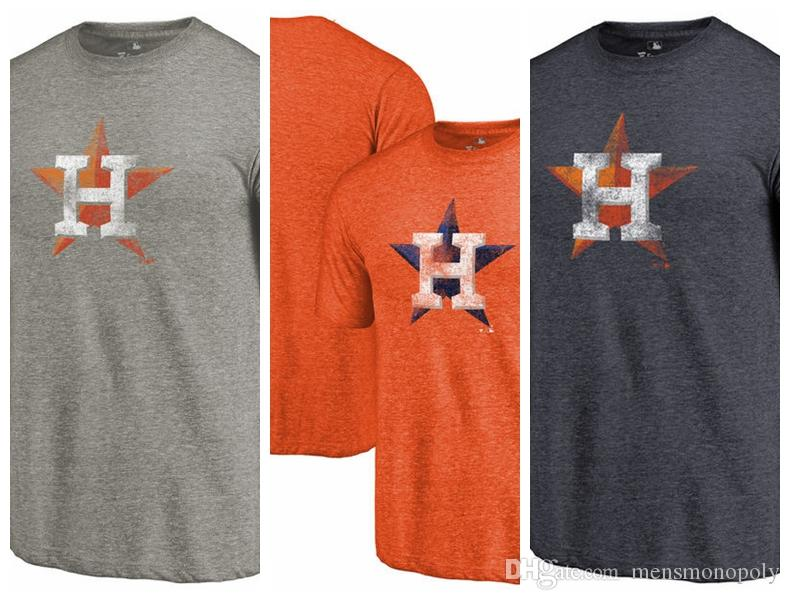 differently b2a4d 874ba Men s T-Shirt Houston Astros Distressed Team Tri-Blend short sleeves  T-Shirt color Heathered Orange Heathered Navy Ash