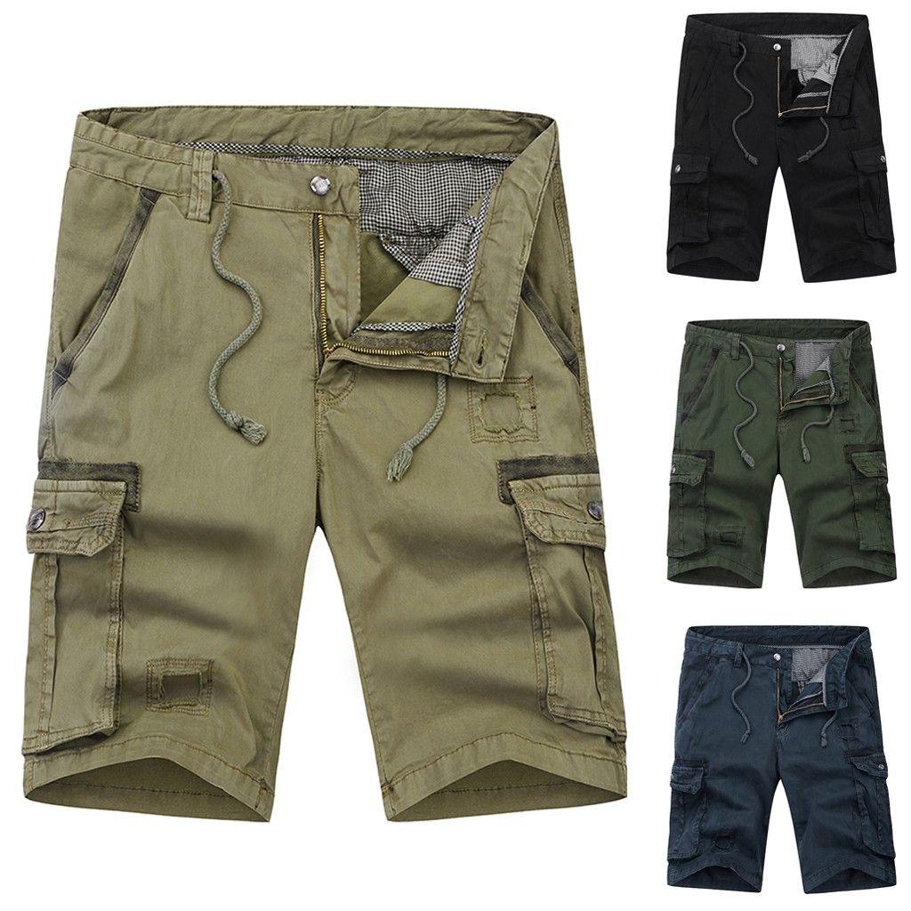 8cfb6e327cd7bd Hommes Mode Casual Shorts Pantalon Coton Poche Solide Extérieur Travail  Pantalon Cargo Short Pantalon Tactique Short 2019