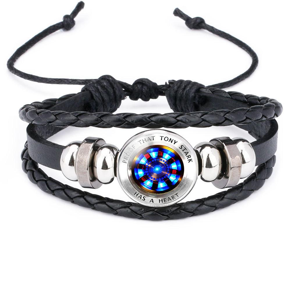 12 styles Iron man has a heart bracelets men's leather bracelets tony stark jewelry gifts for men boys
