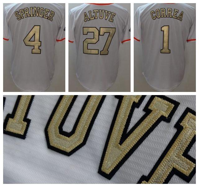 new styles 7a5eb 7cdf5 2018 Houston Astros WS Champions Gold Jersey #1 Carlos Correa 4 Springer 27  Jose Altuve Craig Biggio Justin Verlander Stitched Jerseys