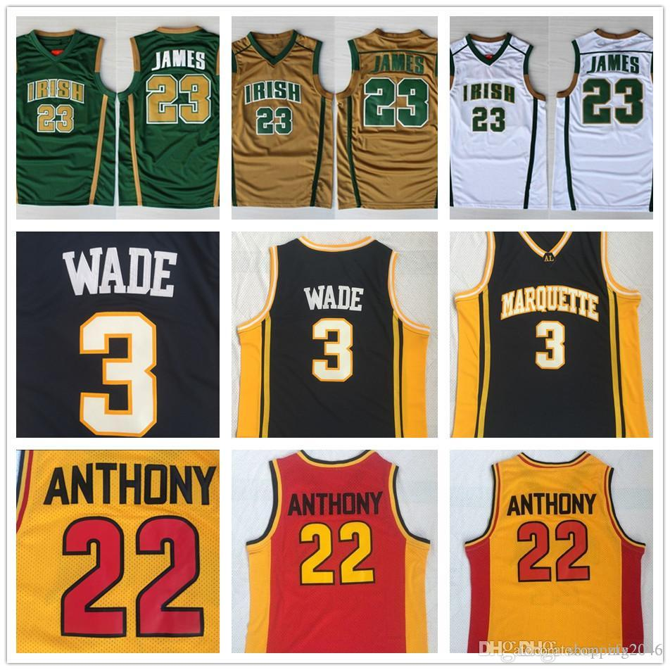 official photos 00665 902d1 Mens St.Vincent Mary High School Irish #23 LeBron James Jerseys 3 DW Wade  #22 Carmelo Anthony College Basketball Shirt Stitched