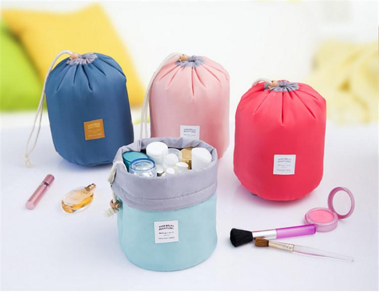 New Korean Barrel Shaped Cosmetic Makeup Bag Elegant Nylon Drum Wash Bags Large Capacity Make Up Organizer Women Storage Pouch Bags 6 Color