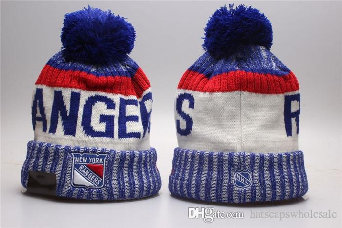 best cheap aa78e b011c 1 Piece Cheap 2019 New Fans Store New York Rangers Blue White Sport Cuffed  Knit Hat Brand Fashion Hockey All Team Sport Beanie Hats Bones