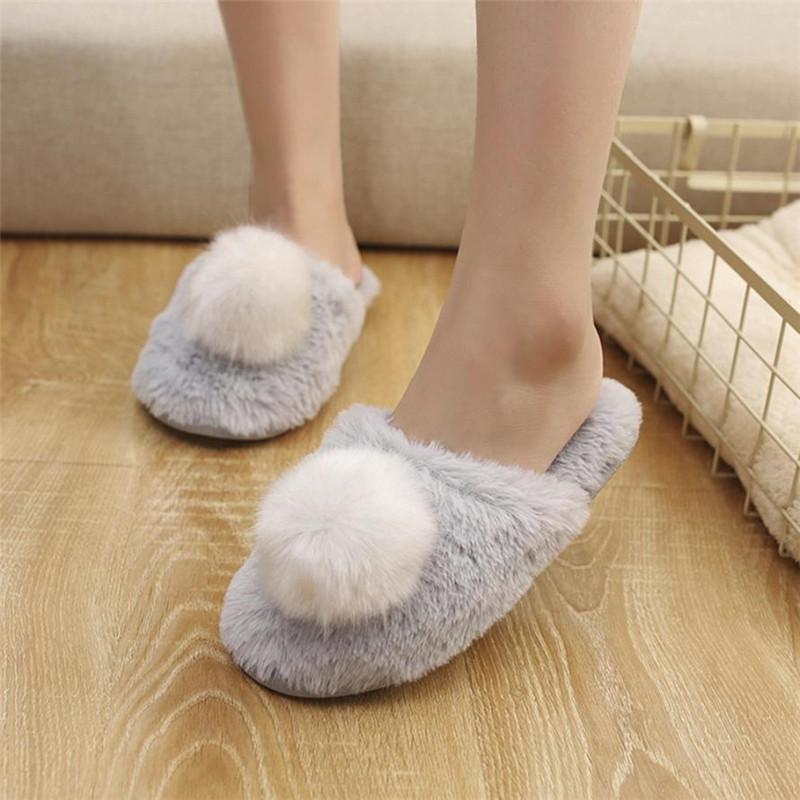 b0a2c6e8f90 Women S Winter Fluff Indoor Slippers Home Anti Slip Soft Warm Shoes Home Furry  Slippers Shoes Woman For Bedroom Zapatos Mujer Fringe Boots Girls Shoes  From ...