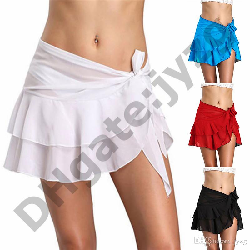 Swimming Sexy Wrap Holiday Sarong Solid Fashion Ruffle Short Cover Up Summer Women Skirt Beach Bikini