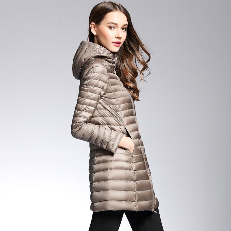 99d812798d Woman Spring Padded Hooded Long Jacket White Duck Down Female Overcoat  Ultra Light Slim Solid Jackets Coat Portable Parkas S1025 Online with   65.66 Piece on ...