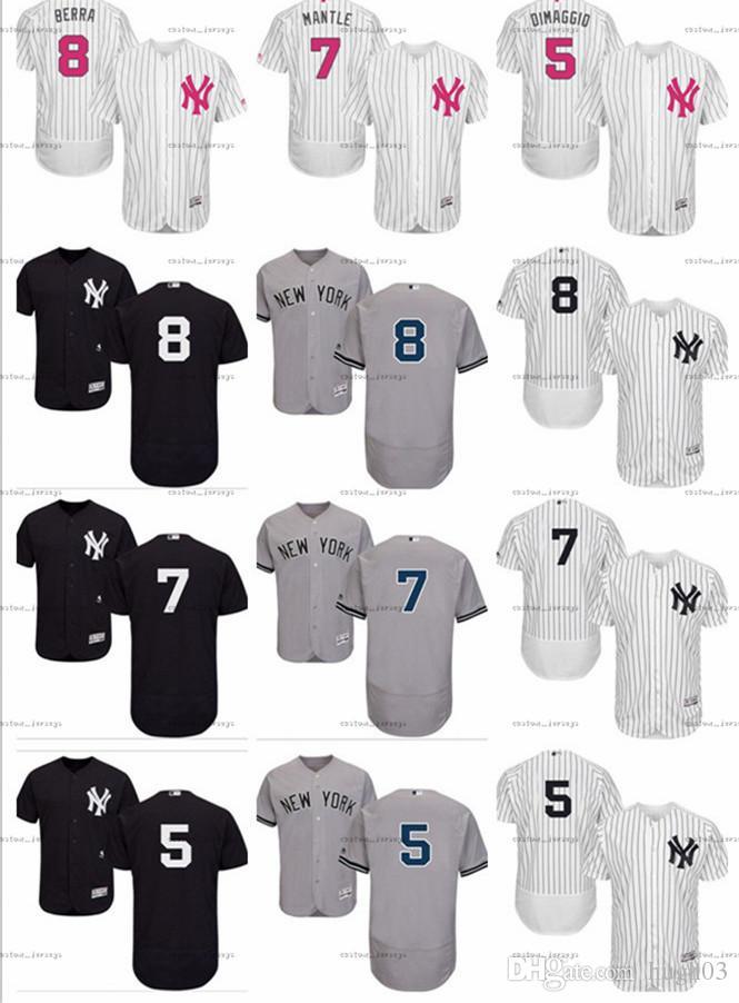 buy online 741a4 1d8f6 custom Men s Women Youth Majestic NY Yankees Jersey #8 Yogi Berra 7 Mickey  Mantle 5 Joe DiMaggio Home white Kids Girls Baseball Jerseys
