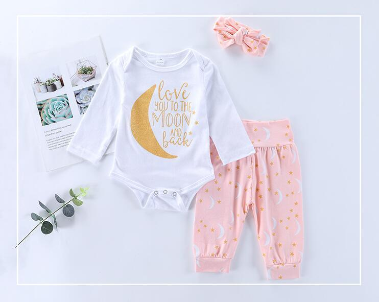 Blue Pants Fashion Baby Girl Rompers New Year 2019 Spring Girls Clothing Set Clothing Sets Useful Newborn Baby Girl Clothes Set Gray Baby Jumpsuits
