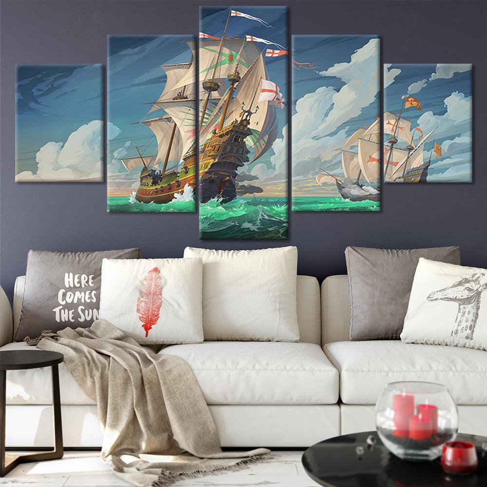Canvas Posters Home Decor Wall Art Framework 5 Pieces Anime Ship Paintings For Living Room Hd Prints Modern Anime Pictures