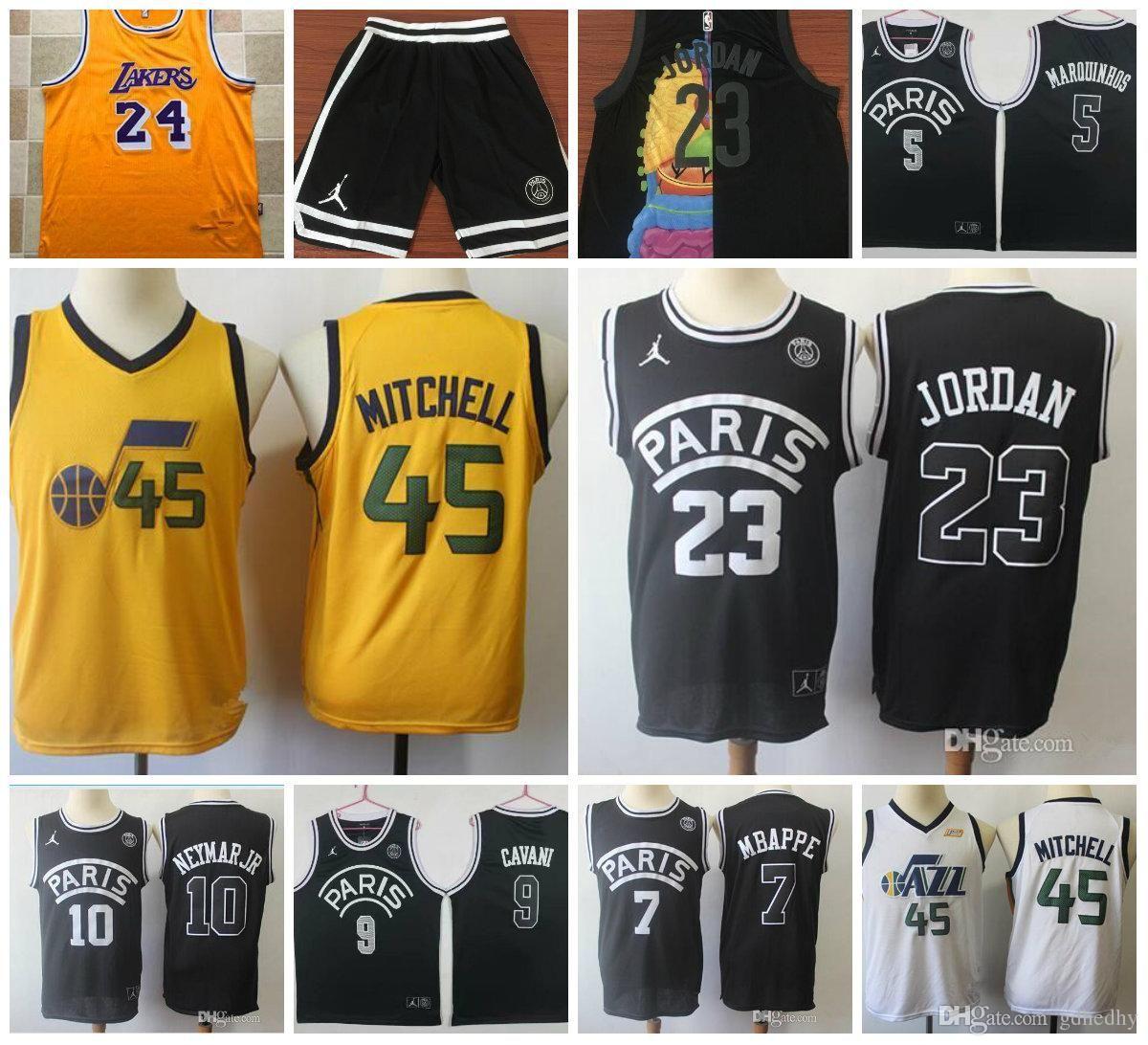 6888c9a92875 2019 TOP High Quality Men S AJ PSG Bulls 23 MJ 10 Jr Jersey 45 Mitchell 24  Bryant 2 Ball Basketball Jerseys Retro Embroidery Jersey