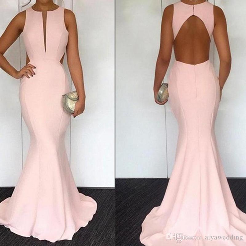 b48e859e2b407 2019 Elegant Pink Satin Mermaid Long Prom Dresses Cut out Hollow Back  Length Formal Party Evening Dresses Free Shipping