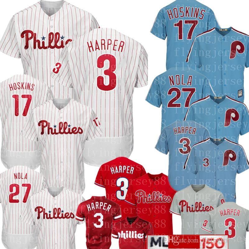 dbf782365 2019 Philadelphia 3 Bryce Harper Phillies Jersey New 17 Rhys Hoskins 27  Aaron Nola Majestic Baseball Jerseys Mens 150th Embroidery Logos From ...