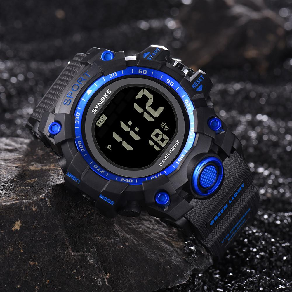 Fitness Watch Men Fashion Casual Multi-Function Wrist Watch LED Digital Double Action Buckle Glass PU Plastic Strap Reloj