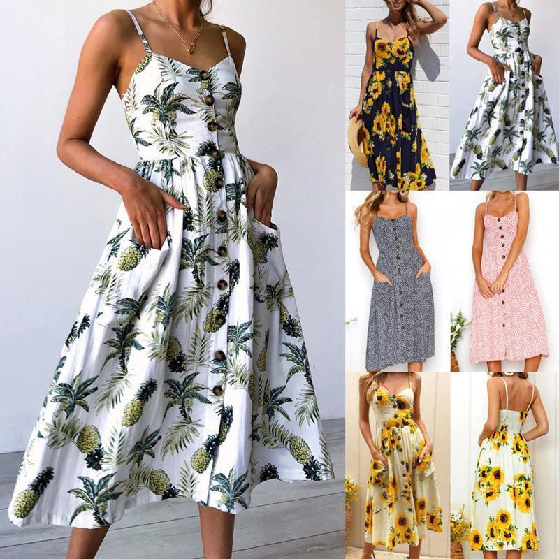 Women Ladies Sweet Bohemian Summer Dress Sundress 9 Style Floral Print  Striped Sleeveless Single Breasted A Line Sundress Cute White Summer  Dresses Clothing ... 955c0981f