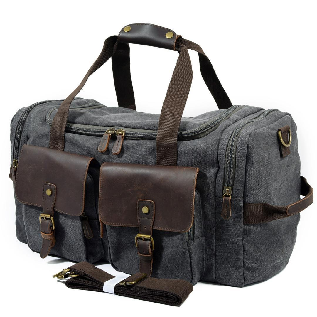 028b644f0f3d Mens Canvas Leather Travel Bags Carry On Luggage Handbags Big Traveling  Duffel Bags Tote Large Weekend Bag Overnight Sport Bags Duffle Bags For Men  From ...