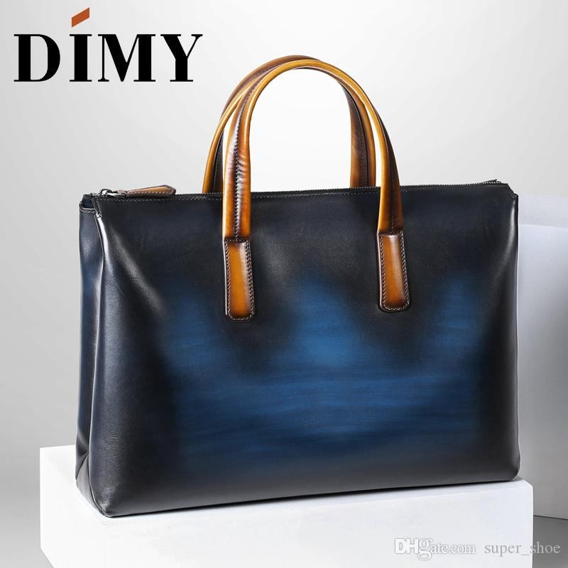 5814abaf9 DIMY Handmade Italian Genuine Leather Briefcase Men Business Case OL Style  Hand Patina Messenger Shoulder Bags Laptop Men's Bags #208898
