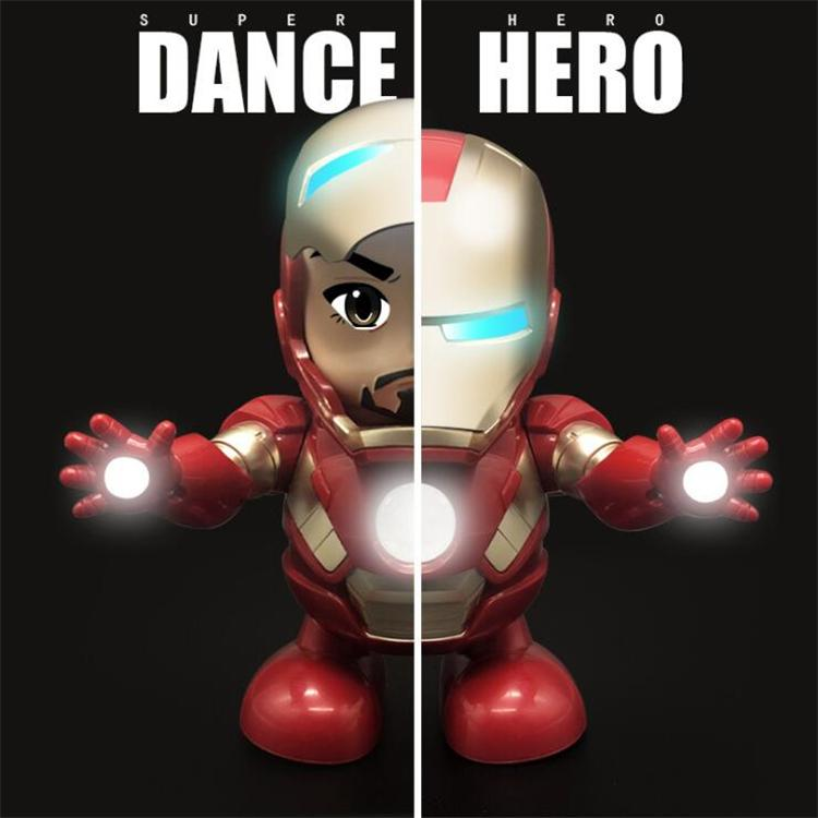 Dance Hero Iron Man Action Figure Toy Robot LED Flashlight with Sound Avengers Iron Man Hero Electronic Toy with Box kids toys USS330