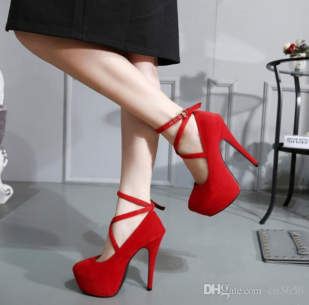 df67dfde1e5c Hot Fashion New High Heeled Shoes Woman Pumps Wedding Party Shoes Platform  Fashion Women Shoes High Heels 14cm Suede Black Size 36 42 Sexy Shoes Clogs  For ...