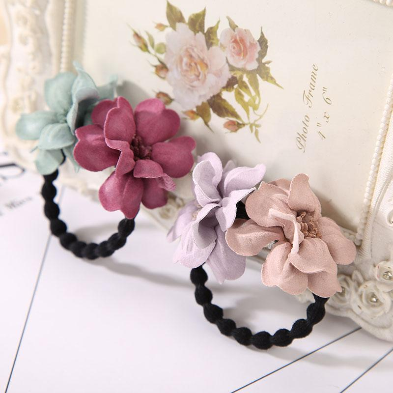 Elastic Hair Ring Flower Hair Rubber Bands Rope Cloth Headbands Ties Hair Accessories for Women & Girls
