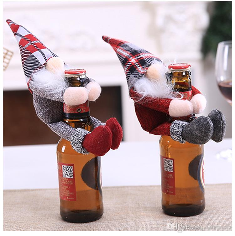 Santa Claus Snowman Holder Hugs Hats Bags Christmas Ornaments Red Wine Bottle Glasses Stoppers Covers Hotel Shopping Mall Home Decorations