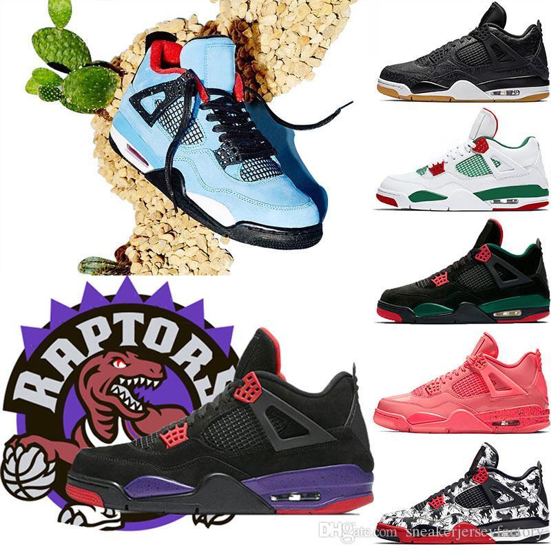 new concept 20649 9760f Acheter 2019 4s Chaussures De Basket Ball NRG Raptors Travis Scott X 4 S  HOUSTON Cactus Jack Pure Money Royalty Black Cat Hommes Baskets De Sport  Chaussures ...