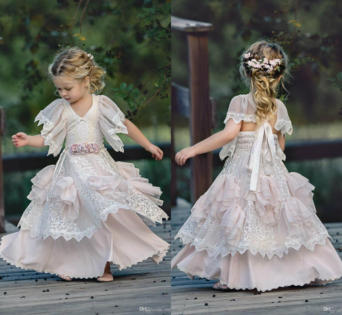 b11aa76f8 New Lace Bohemian Flower Girl Dresses V Neck With Short Sleeves Tiered  Skirts Vintage Child Kid Birthday Gowns First Communion Wear Western Flower  Girl ...
