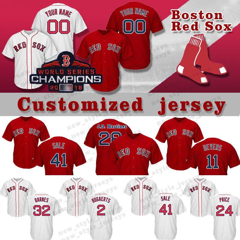 buy online 46a13 d1446 Customized Betts Boston Red Jersey Sox 28 J.D. Martinez 41 Chris Sale 12  Brock Holt 2 Xander Bogaerts 11 Rafael Devers Baseball