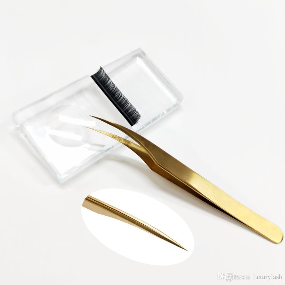 2PCs/Lot Tweezer Stainless Steel Gold Private Label Volume Applicator Eye  Lash Extension Tweezer Logo Custom Eyelash Tweezers