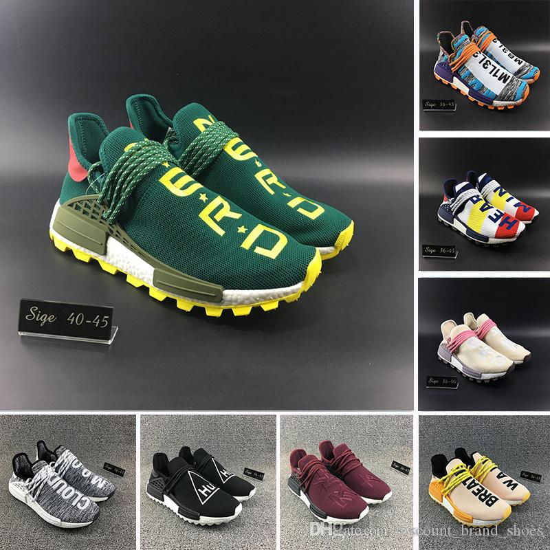 finest selection fc65d aec91 Discount Heart Mind HU TR Human Race Running Shoes Nerd Green pink Core  Black Solar Pack Pharrell Williams men women runner Sports Sneakers