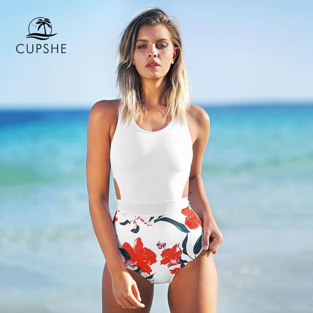 0a0375f574 2019 CUPSHE Lilies Open Print One Piece Swimsuit Women U Back Cutout  Monokini 2019 Girl Beach Bathing Suits Patchwork Swimwear From Walon123, ...