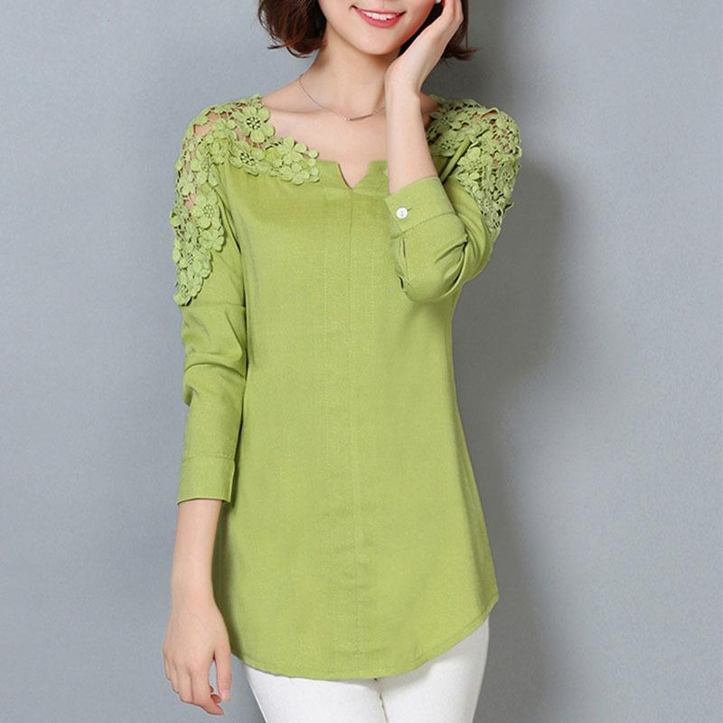 a9af75364c68ae 2019 New Women Blouse Femininas 2019 Long Sleeve Blouse Shirt Women V Neck  Floral Lace Sexy Casual Linen Shirts Plus Size Lady Shirt From Jamie19
