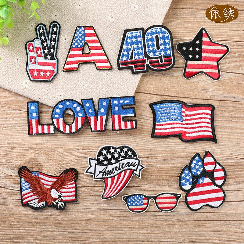 PGY New USA Flags Embroidered Patches eagle letter Glass iron on patches Motif Applique badge popular embroidery accessories