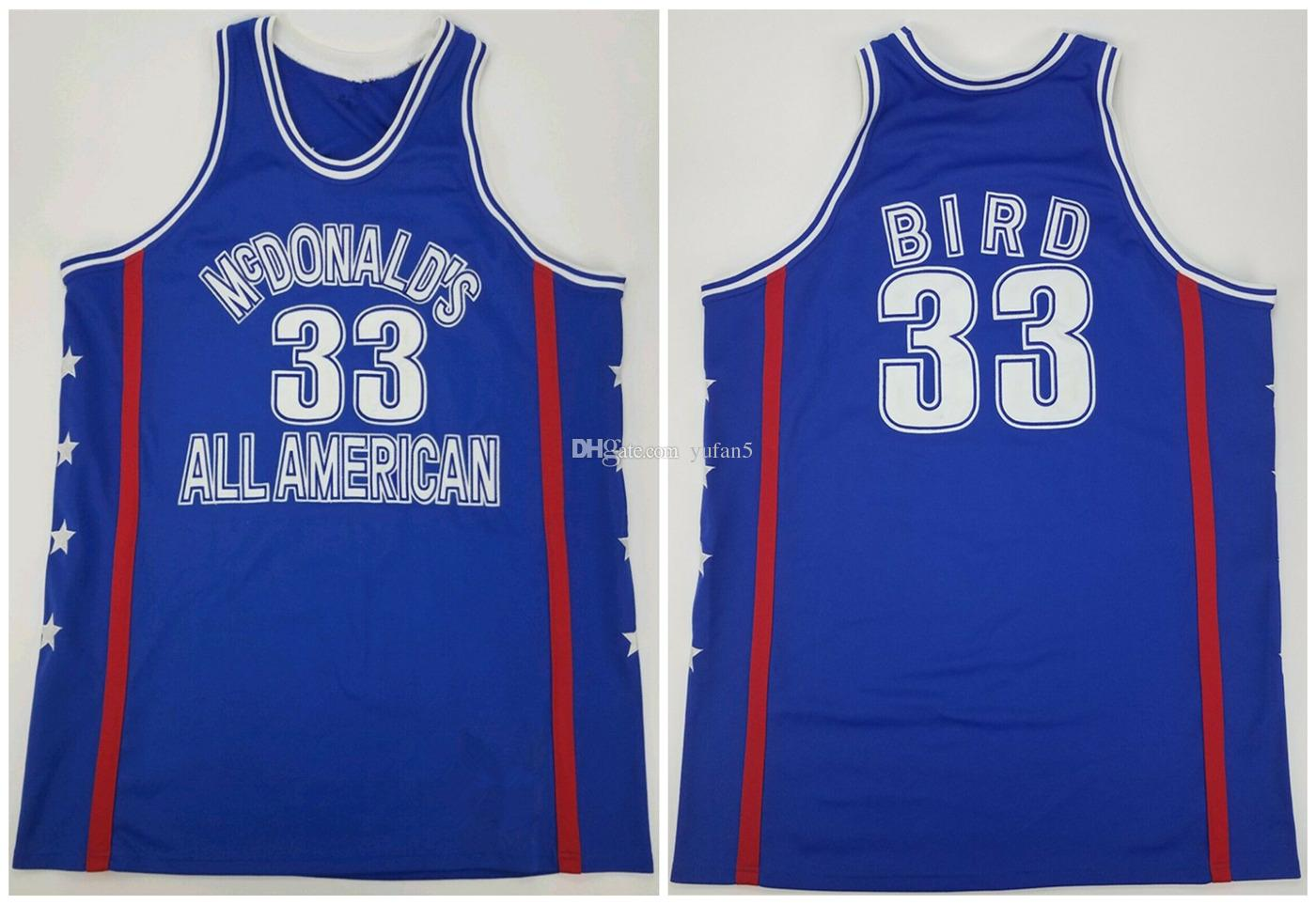 online store ab0b3 6b22a McDonald's All American Larry Bird #33 Retro Basketball Jersey Mens  Stitched Custom Any Number Name Jerseys