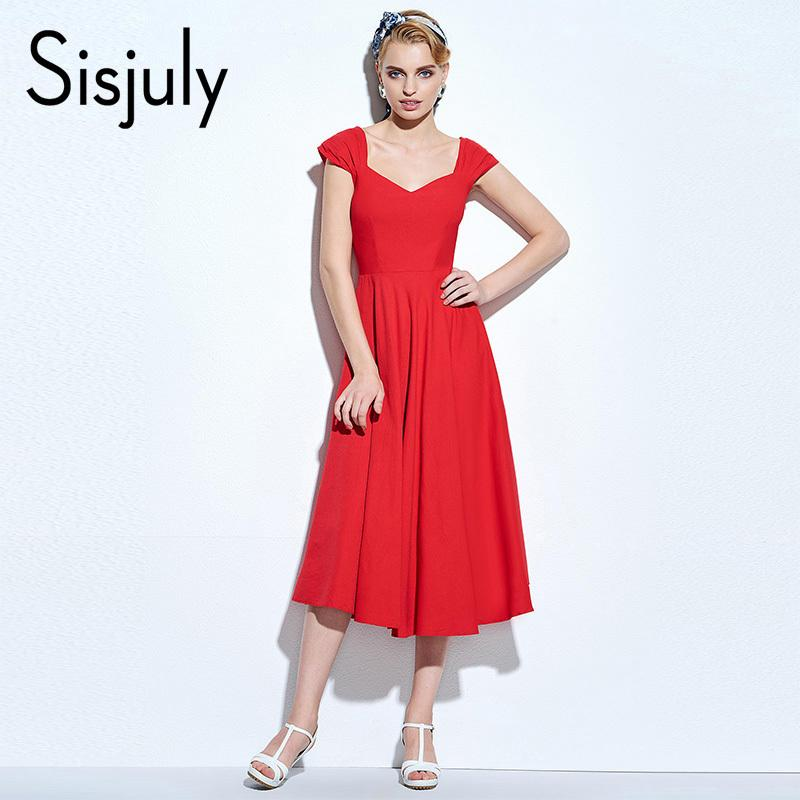 89d8e2082657 2019 Sisjuly Vintage Dress 1950s Classic A Line Retro Party Elegant Women  Dresses Summer V Neck Red Swing Vintage Dresses 2018 New Y19012201 From  Jinmei01, ...