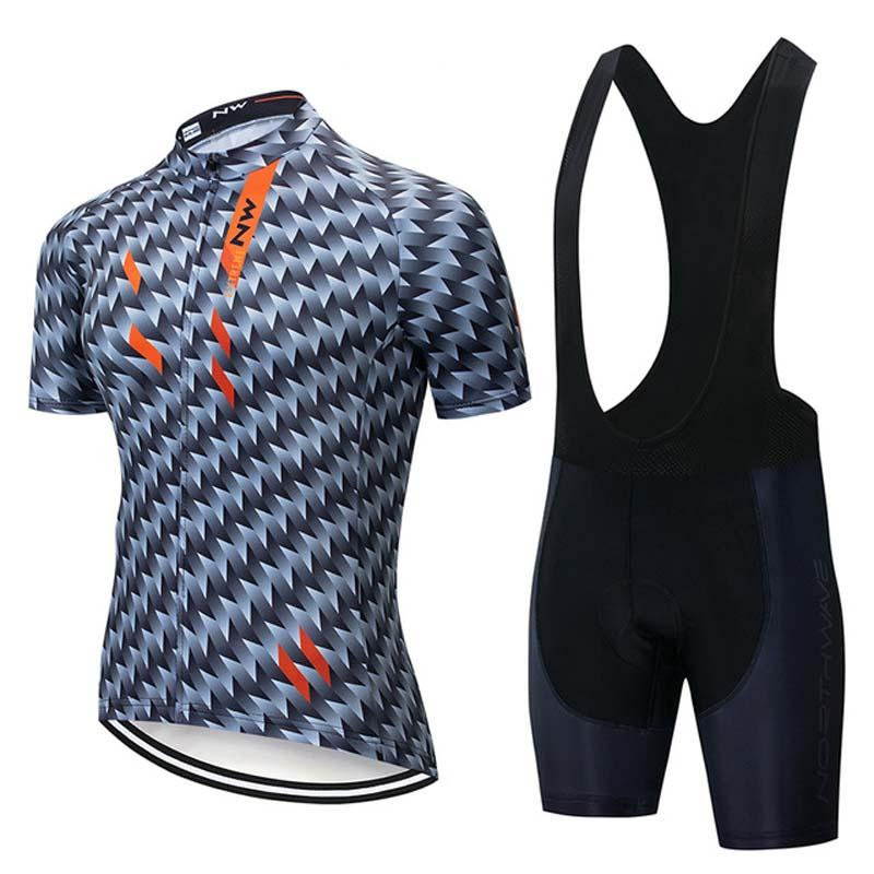 Nw Team Cycling Short Sleeves Jersey Bib Shorts Sets Summer Breathable Racing Bike Mens Clothing 3d Gel Pad U41312
