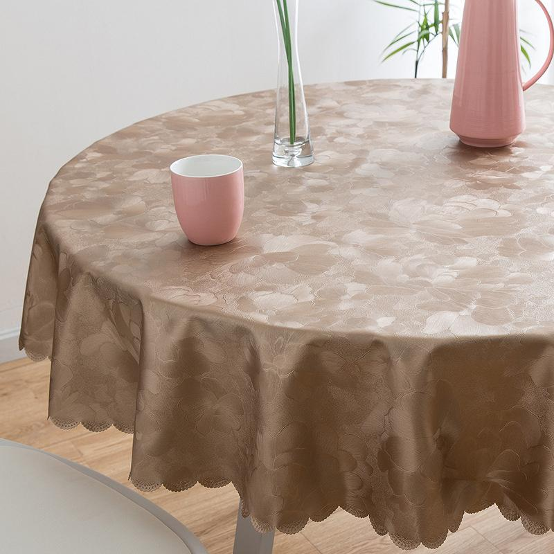 Round Table With Tablecloth.Luxury Round Table Cloth Top Damask Jacquard Tablecloth Waterproof Dining Table Cover Mat For Home Kitchen Dinning Decor Party