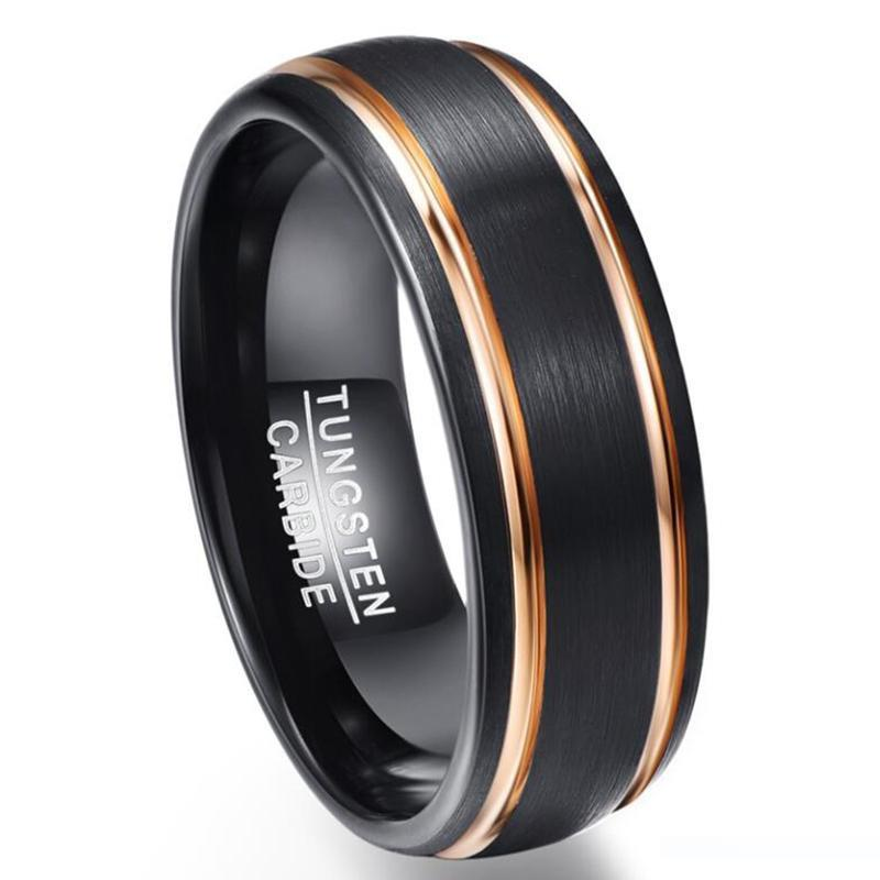 Partei-Ring Exquisite Rose Gold Side Männer Rings Echt Wolframkarbid Wedding Bands Anillos para hombres Male Ring