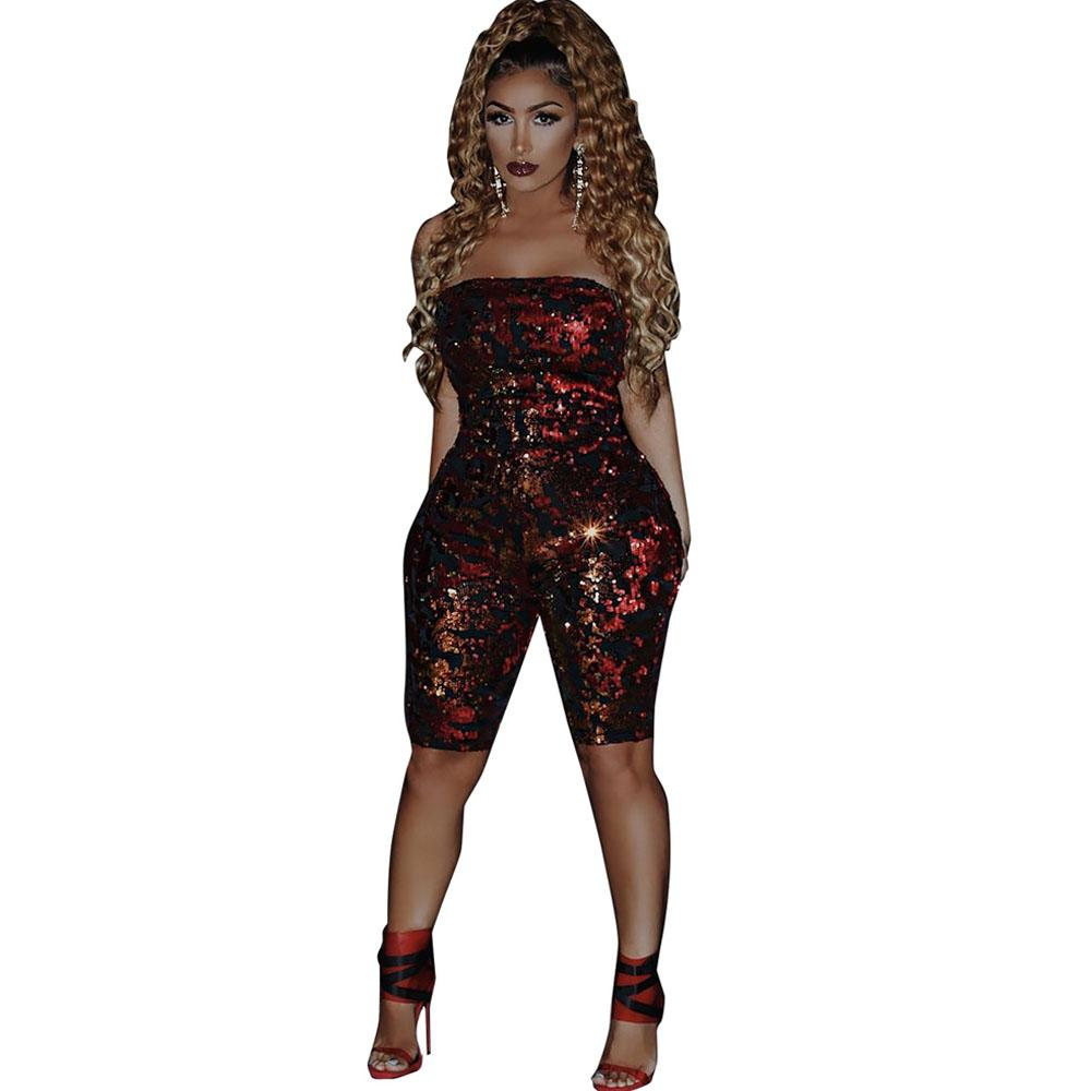 c9a9f76c6c5 2019 Burgundy 2019 Summer Sequin Playsuits Strapless Off Shoulder Shorts  Sexy Glitter Jumpsuit Clubwear Party Outfits Women Romper From Hoto