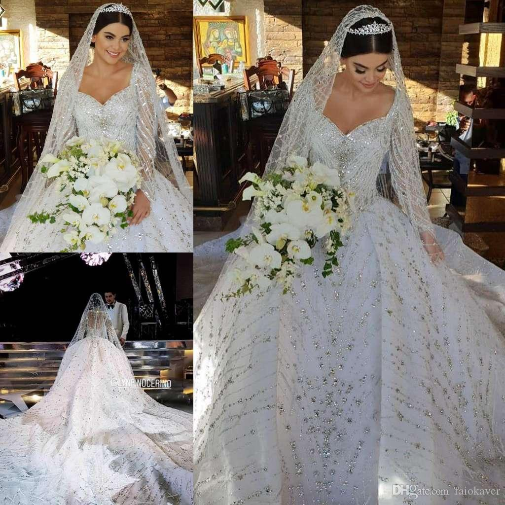1a4f31eb736 Discount Vintage Lace Ball Gown Wedding Dresses Sexy V Neck Luxury Bridal  Gowns Court Train Long Sleeve Crystal Plus Size Wedding Dress Custom Bridal  ...